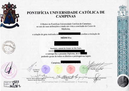 Certified translations of Portuguese Degrees into German