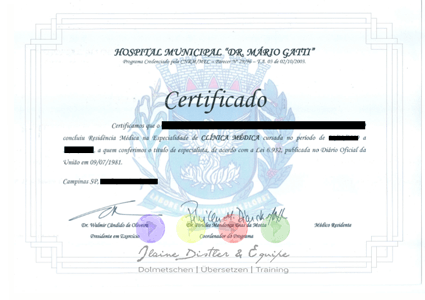 Certified translations of Portuguese Certificates into German